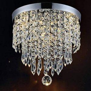 CRYSTA WORLD Crystal Chandelier Luxury Light Lamp Round Crystal Rain Drop Pendant Light Fixture for Living Room Bedroom