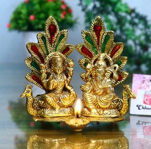 Idol Statue with Diya Peacock Design Decorative Showpiece 1