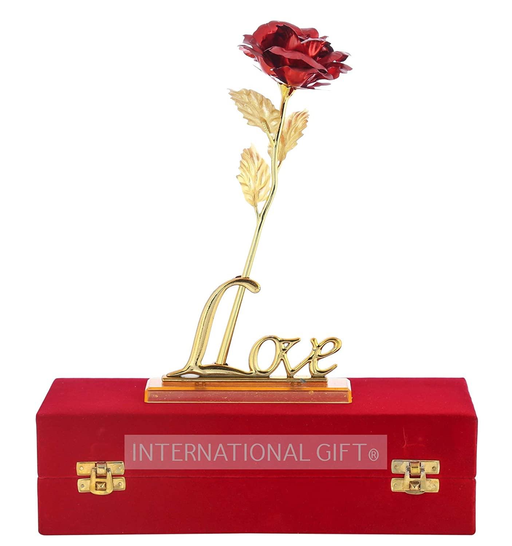 International Gift Red Rose Flower Present 24K
