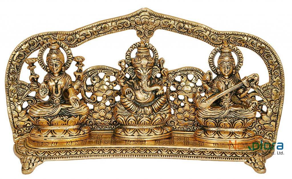 Laxmi Ganesh Saraswati Idol Showpiece Metal Statue 2