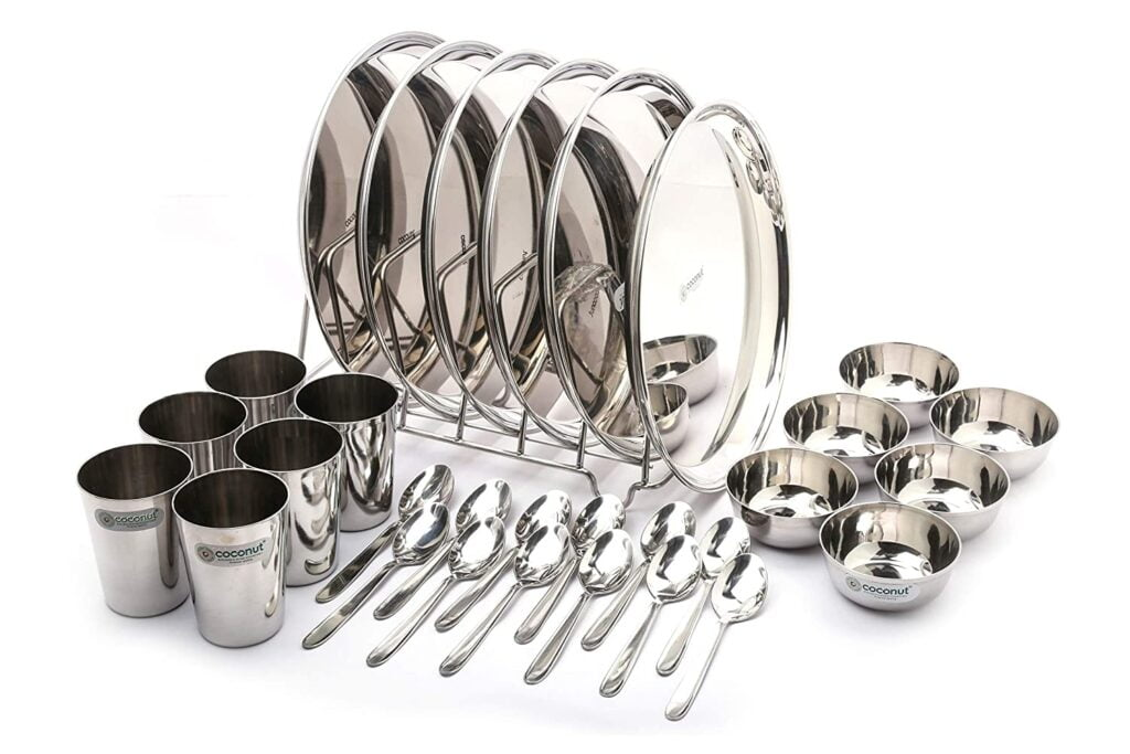 Coconut Stainless Steel Heavy Guage Mirror Finish Happy Dinner Set