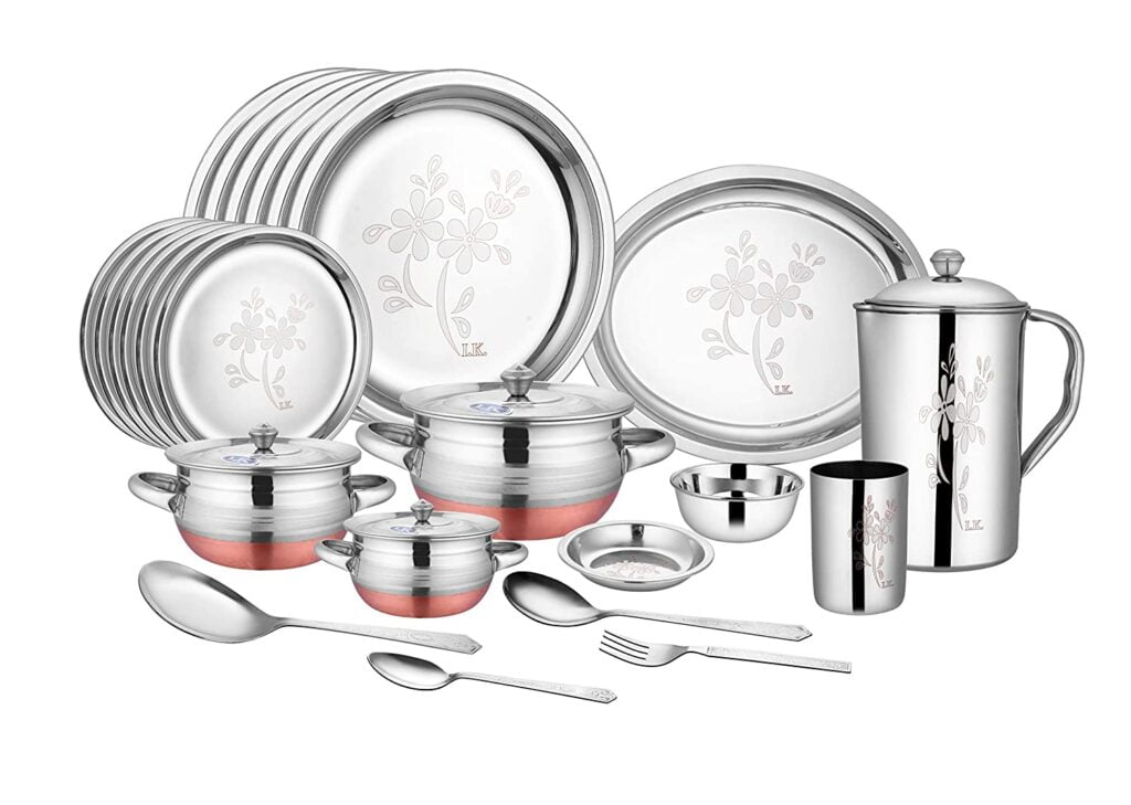 Crockery wala and company Laser Finish Stainless Steel Dinner Set 63 Pieces Silver