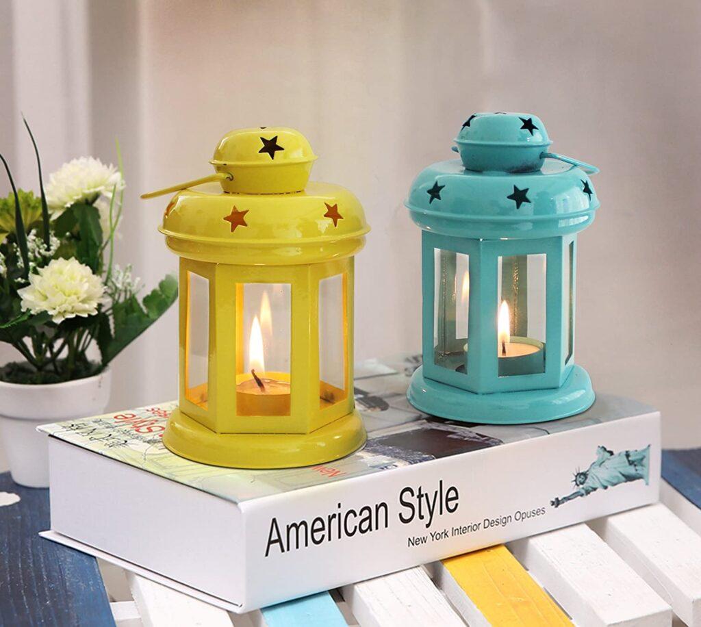 tied ribons tealight holder Hanging Lantern set